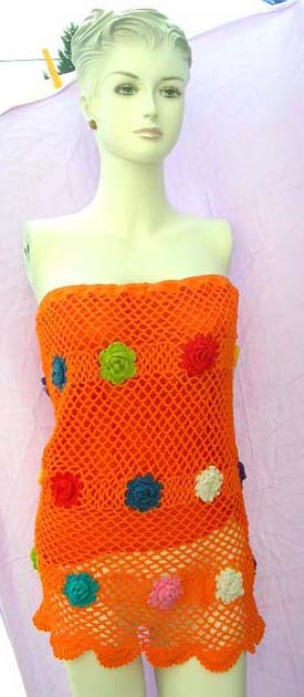 Club wear, wide knit crochet tube top with opaque slip  and colorful flower pattern Online by bali fashion factory supply wholesaler