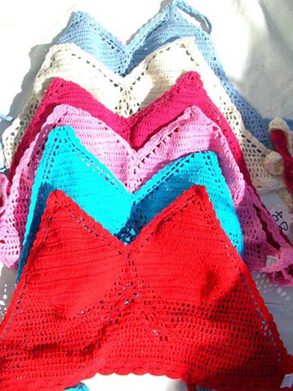 Club wear wholesale shopping supplier exports designer crochet, beach halter top in sexy red
