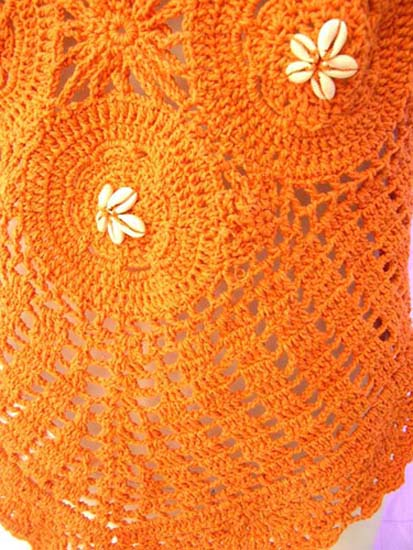 Seashell flower motif on crochet halter top with crafted knit patterns from international indonesian wholesale manufacturing factory