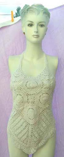Handmade thread art fashion tankini with designer inspired, delicate knit design from balinese manufacturing wholesale agent