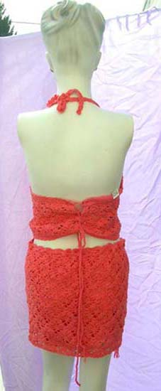 Indonesian wear wholesale distributor supplies  Womens batik fashion set with red crochet halter top and  knit mini skirt