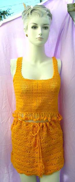 Stylish tank top styled crochet shirt with matching filigree flower designed skirt from online womens apparel retail importer