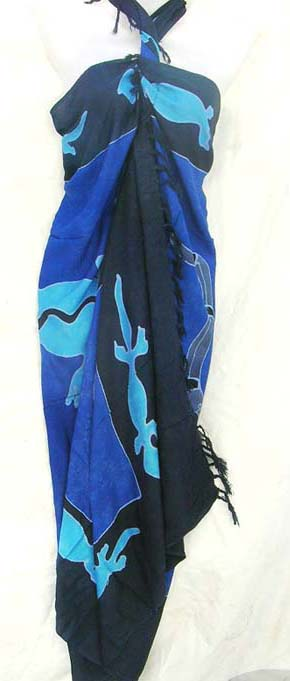 Online fashion collection catalog supplies Gecko pattern sarong in blue colors at wholesale cost