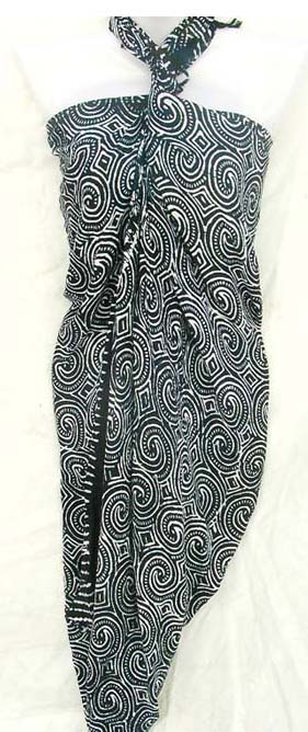 Tropical art wear supply factory imports sexy Paisley styled pattern on grey-black colored summer sarong