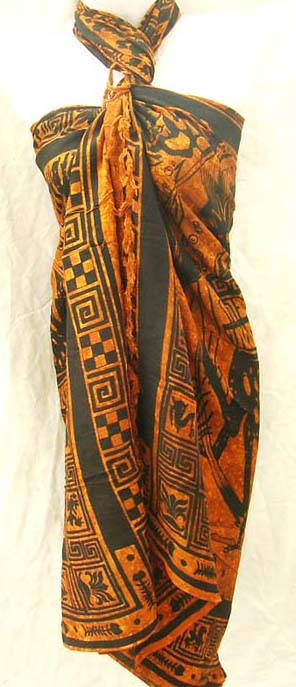 Artisan bali pareo wrap with exotic print decor from wholesale clothing supply company