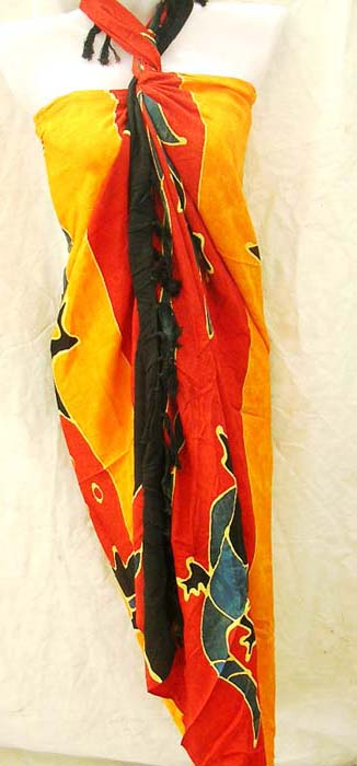 Indonesian art gecko print on stylish sarong manufactured by bali exchange retail factory