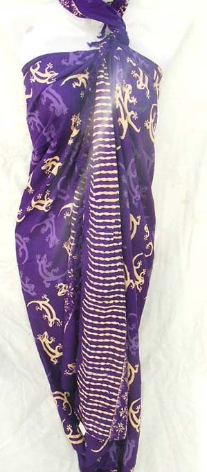 Summer beach wear manufacturer shop distributes quality discount gecko pattern on purple holiday sarong