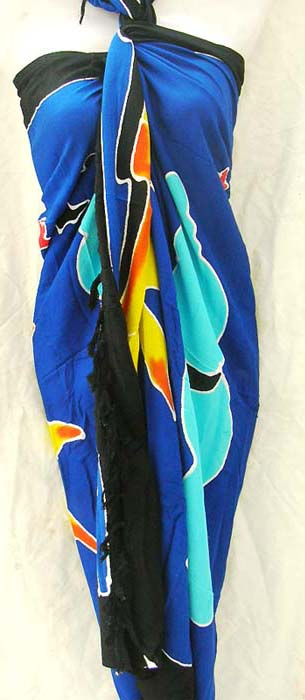 International sarong company exports unique Celestial decor on blue balinese wrap dress