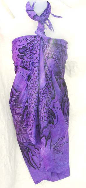 International apparel boutique imports quality Asian inspired dragon design on exotic purple sarong dress