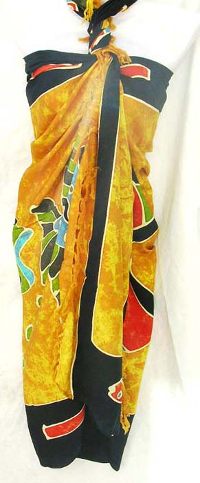 Handcrafted resort wear fashion import store wholesales Caribbean fish design batik indonesian sarong
