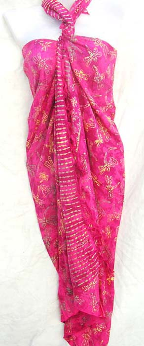 Dragonfly patterned balinese sarong from exocti fashion boutique exporter