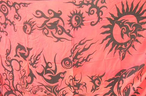 Tribal art design in dolphin motif on  swim wear sarong, beach clothing international import company