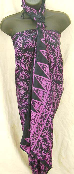 Dark purple and black indonesian sarong dress in trendy pattern, Vacation apparel online outsourcing agent catalog