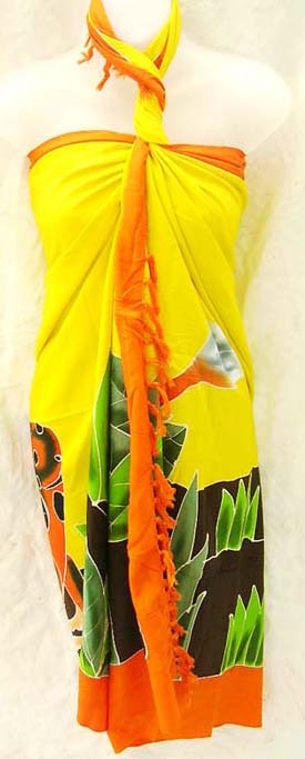 Tropical amphibian decorated bali scarf skirt, online ladies summer sarong retail shop