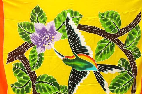 Caribbean bird design on island sarong, ladies apparel shopping outlet company