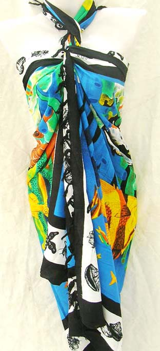Resort wear manufacturing catalog exports Maui scene designed bikini accessory wrap