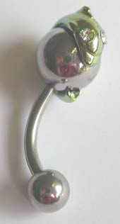 Gemstone belly button rings wholesale -- Fashion belly button rings with green dolphin on the one sphere side