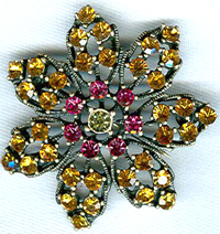 Wholesale jewelry supplier wholesale -- Fashion flower brooch with red and yellow germ stone