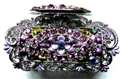 Brooch jewelry findings wholesaler supply -- Fashion brooch motif vase with purple germ stone