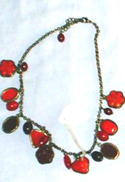 Sale discount necklace jewelry wholesale - Fashion charm necklace with assorted red and purple beaded pattern