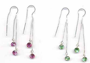 Wholesale sterling silver charm earring - Fashion sterling silver charm earring with red and green cz