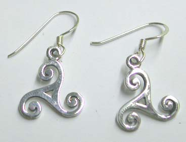 Online silver fish hook earring store wholesale - Fashion sterling silver fish hook earring with triskel shield design