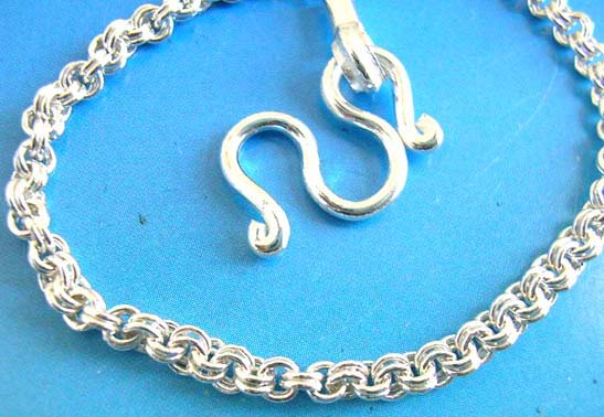 925.sterling silver rope pattern chain with M shape clasp
