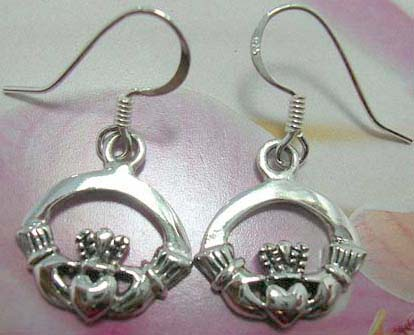 Sterling silver claddagh earring with fish hook design