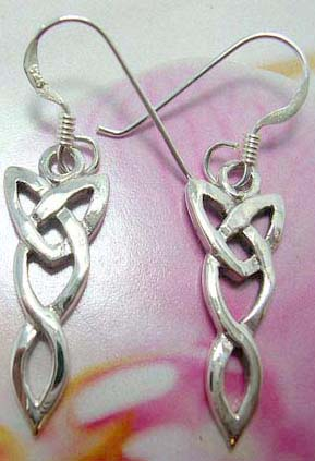 Celtic knot sterling silver French fish hook earwires  earring with cut-out knot