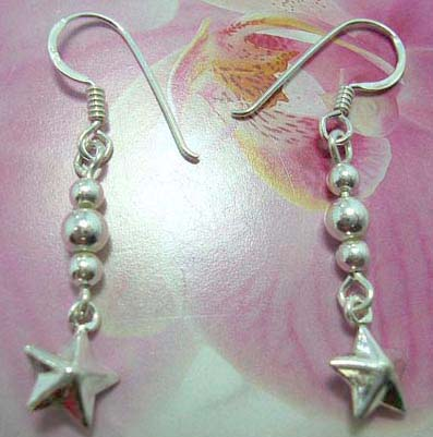 Beaded French fish hook earwires  earring with hanging star on the bottom made with sterling silver