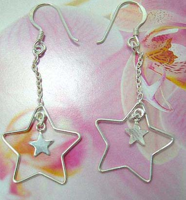 Enamel sterling silver French fish hook earwires  earring with cut-out star holding a mini star pattern