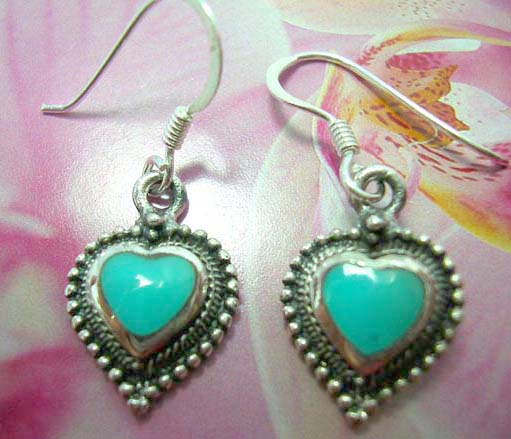 Heart shape sterling silver French fish hook earwires  earring with turquoise and mini silver ball inlaid