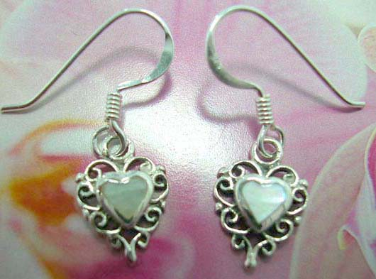 White mother of seashell and heart shape made with sterling silver French fish hook earwires  earring