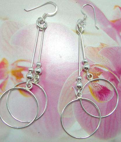 Beaded sterling silver French fish hook earwires  earring with double circle frame design