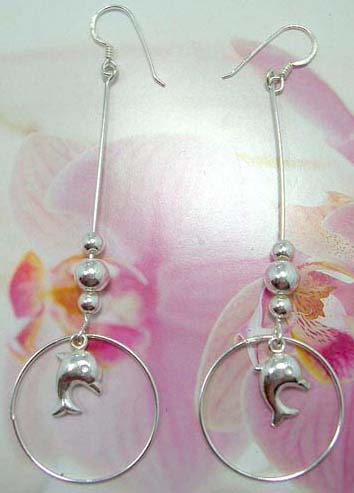 Enamel 925. sterling silver beaded French fish hook earwires  earring with circle holding a dolphin