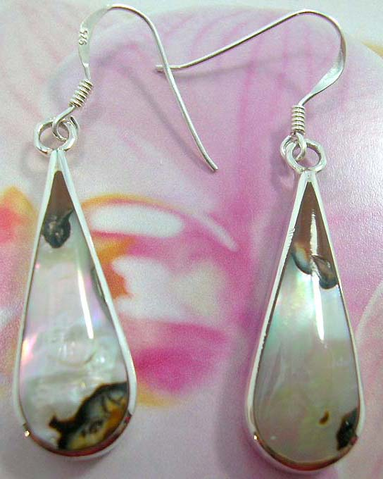 Spring water-drop abalone seashell French fish hook earwires  earring with sterling silver inlaid