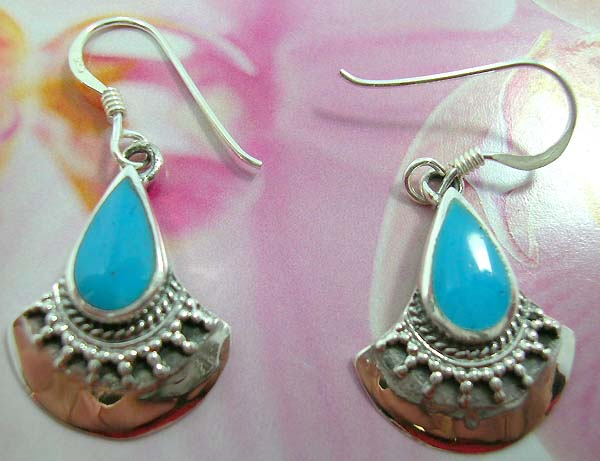 925.sterling silver French fish hook earwires  earring with water-drop shape blue turquoise inlaid motif in broken shell piece design