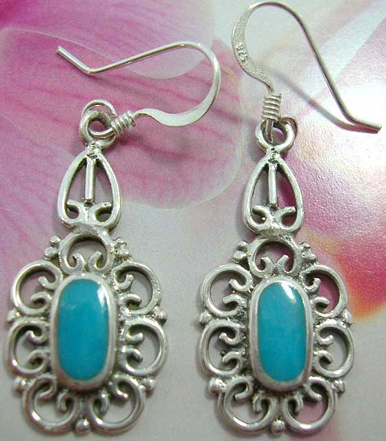 Stamped 925.sterling silver French fish hook earwires  earring motif in elegant flower with blue turquoise embedded in the center