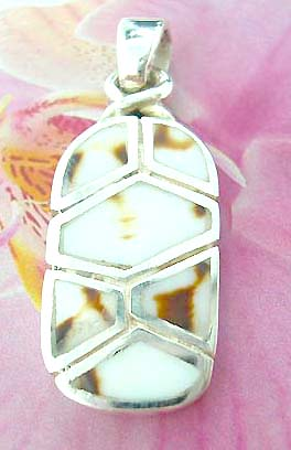 Multi white seashell pieces forming oval shape pattern Thailand made solid sterling silver charm pendant