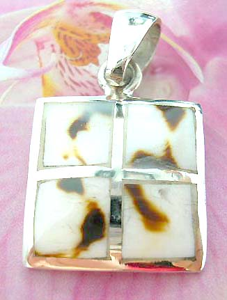 Square  Thailand made solid sterling silver charm pendant with 4 mini square shape brown spotted white seashell inlay