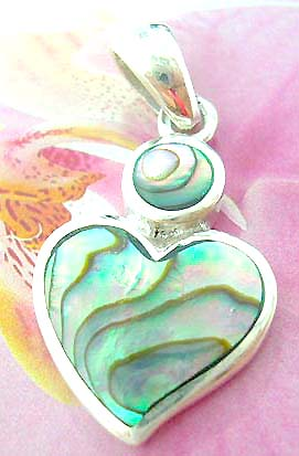 Heart shape abalone seahell inaly Thailand made solid sterling silver charm pendant with a rounded mini abalone seashell on top