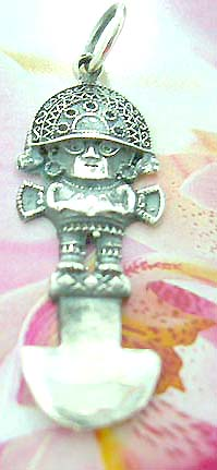 Hat-on man on stand figure design Thailand made solid sterling silver charm pendant