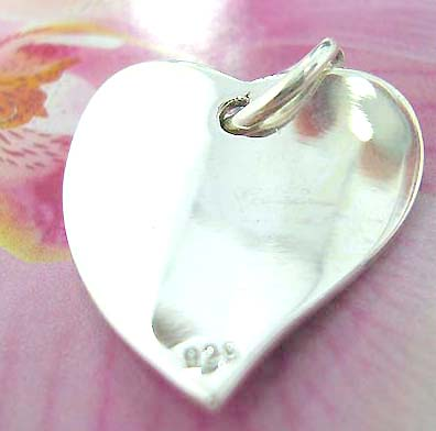 Curvy heart  Thailand made solid sterling silver charm pendant