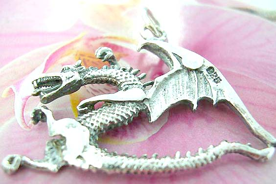Cut-out flying dragon design Thailand made solid sterling silver charm pendant