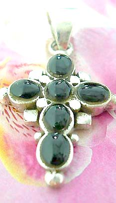Multi black onyx stone forming central square cross  Thailand made solid sterling silver charm pendant