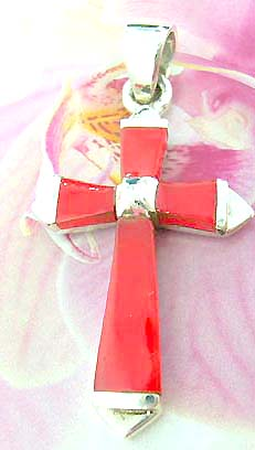 4 red stone forming cross with arrow-edge  Thailand made solid sterling silver charm pendant