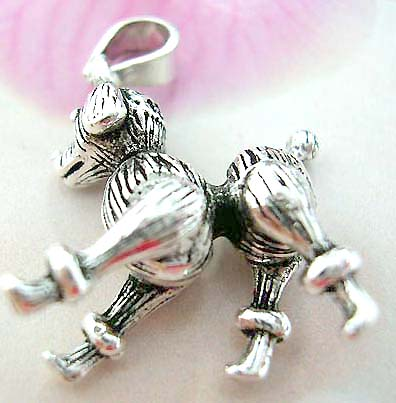 Little dog design Thailand made solid sterling silver charm pendant with head, legs and tail movable