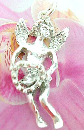 Carved-out love angel holding a heart ring design 925. Thailand made solid sterling silver charm pendant