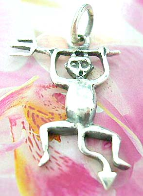 Monkey holding weapon design Thailand made solid sterling silver charm pendant