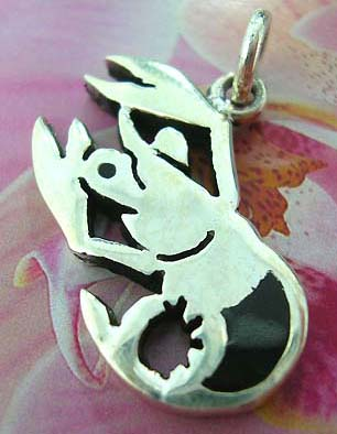 Lobster Thailand made solid sterling silver charm pendant with onyx
